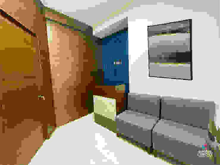 Recepción y sala de espera de consultorio Estudio Chipotle Clínicas / Consultorios Médicos Madera Azul