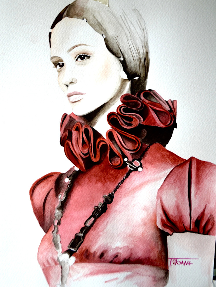Red Valentino Fashion Illustration Watercolor Art Oksana Tanasiv Art LLC