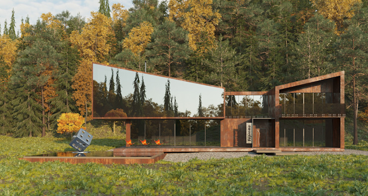 Grynevich Architects Country house Metal Brown
