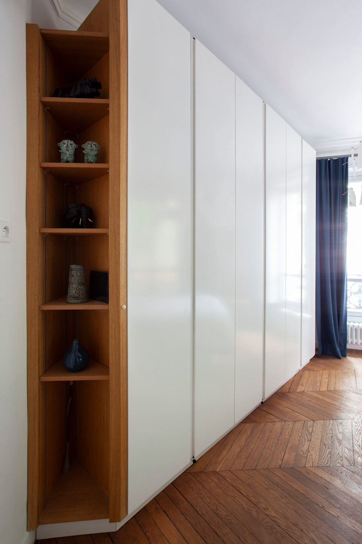chambre parentale appartement haussmanien MISS IN SITU Clémence JEANJAN Chambre originale Bleu