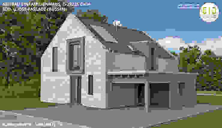 EFH-Celle, Gebäudeansicht Süd-Ost - VARIANTE 1A von GID│GOLDMANN-INTERIOR-DESIGN - Innenarchitekt in Sehnde Modern Stein