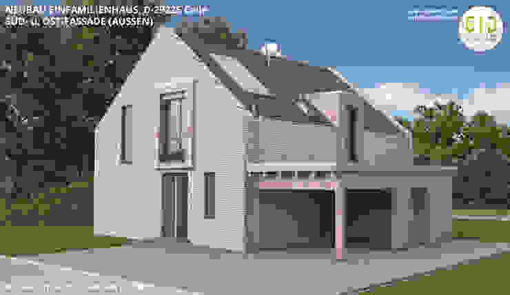 EFH-Celle, Gebäudeansicht Süd-Ost - VARIANTE 1B von GID│GOLDMANN-INTERIOR-DESIGN - Innenarchitekt in Sehnde Modern Stein