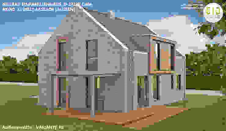 EFH-Celle, Gebäudeansicht Nord-West - VARIANTE 1B von GID│GOLDMANN-INTERIOR-DESIGN - Innenarchitekt in Sehnde Modern Stein