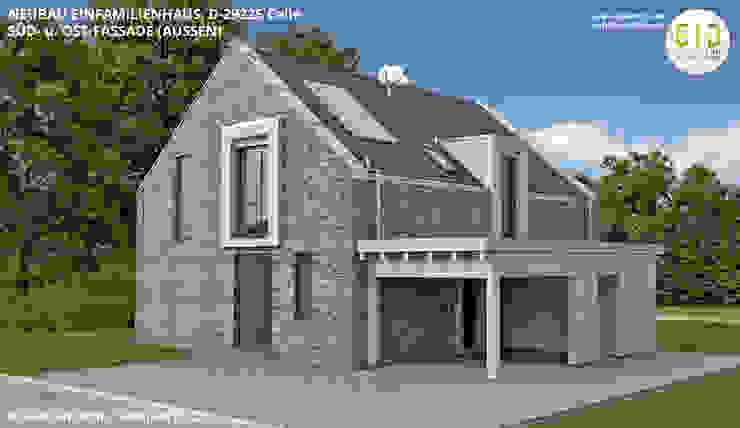 EFH-Celle, Gebäudeansicht Süd-Ost - VARIANTE 2 von GID│GOLDMANN-INTERIOR-DESIGN - Innenarchitekt in Sehnde Modern Stein