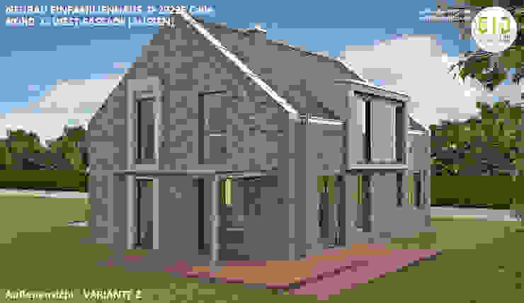 EFH-Celle, Gebäudeansicht Nord-West - VARIANTE 2 von GID│GOLDMANN-INTERIOR-DESIGN - Innenarchitekt in Sehnde Modern Stein