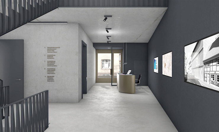 FISCHER & PARTNER lichtdesign. planung. realisierung モダンスタイルの 玄関&廊下&階段