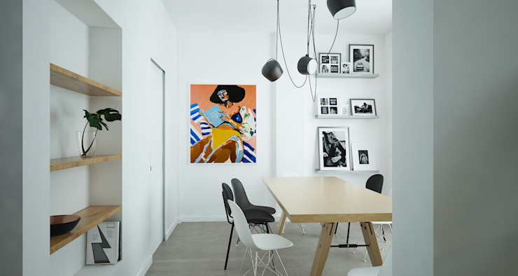 Studio Zay Architecture & Design Ruang Makan Gaya Mediteran Kayu White