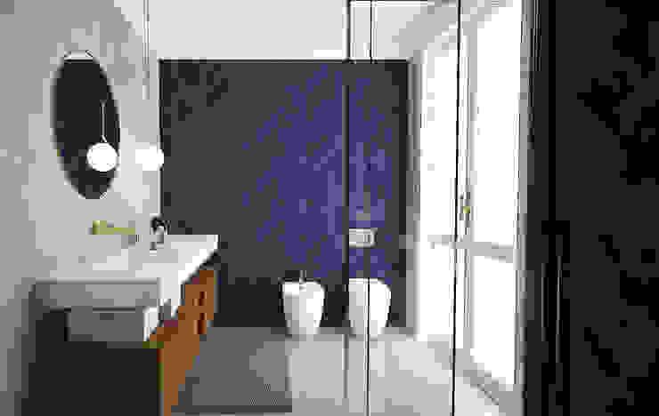Bagno padronale Studio Zay Architecture & Design Bagno in stile mediterraneo Ceramica Blu