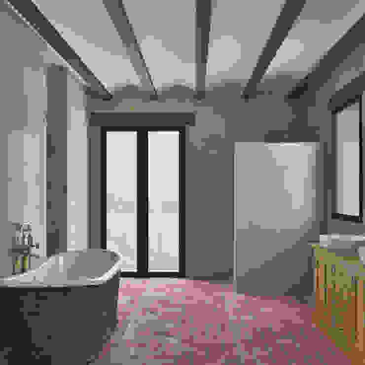 Vista baño en suite Moratal Palomino | Estudio de arquitectura Baños de estilo mediterráneo
