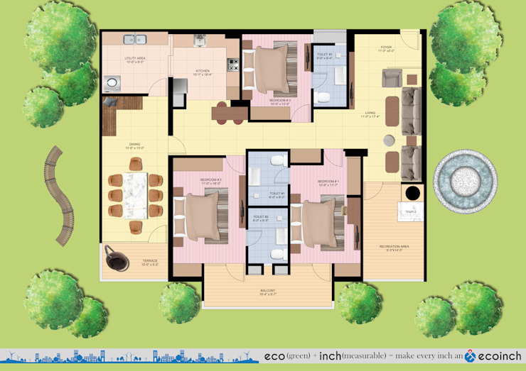 Final Floor Plan Modern houses by Ecoinch Services Private Limited Modern