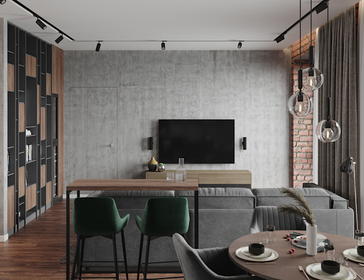 Студия дизайна 'INTSTYLE' ห้องนั่งเล่น คอนกรีต Grey
