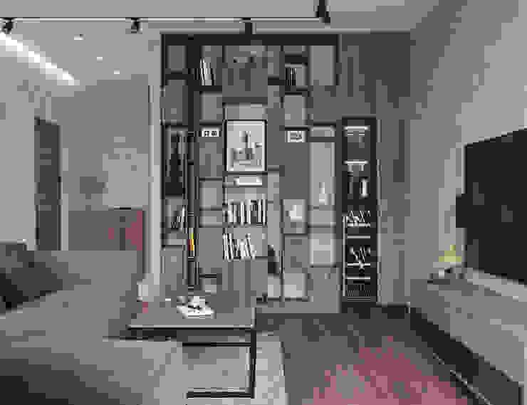 Студия дизайна 'INTSTYLE' ห้องนั่งเล่น ไม้ Grey