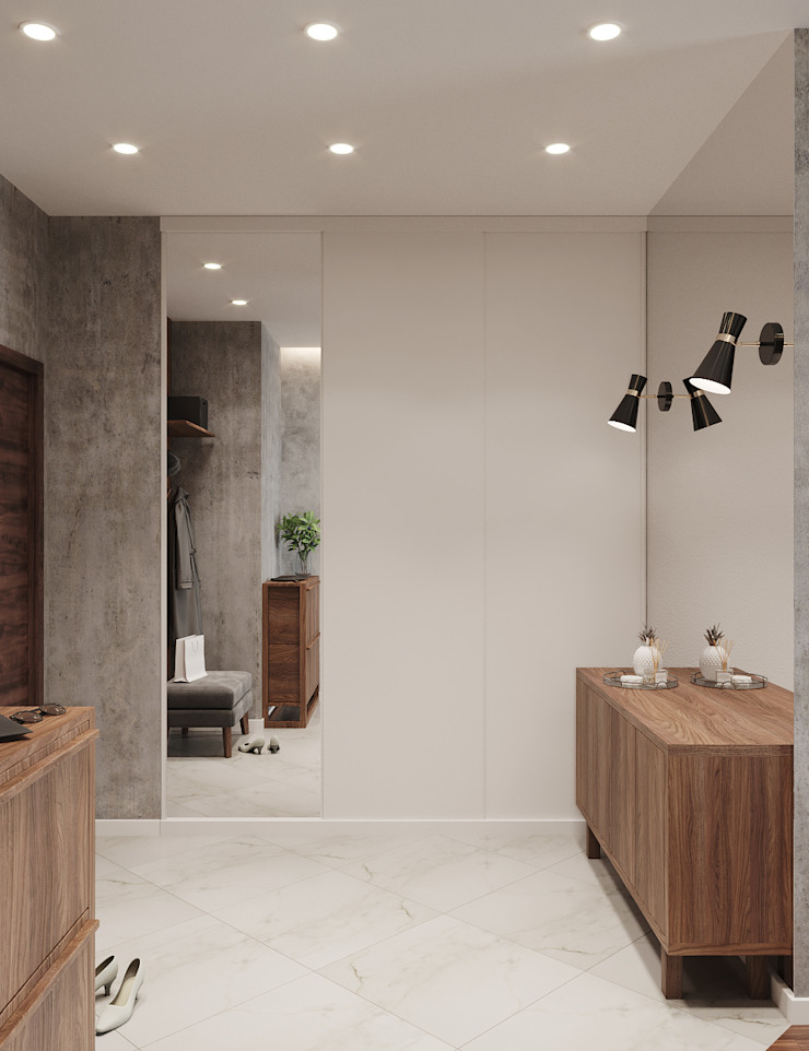 Студия дизайна 'INTSTYLE' ทางเดินในสไตล์อุตสาหกรรมห้องโถงและบันได ไม้ White