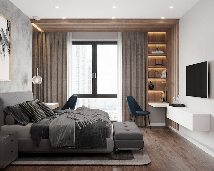Студия дизайна 'INTSTYLE' ห้องนอน ไม้ Grey