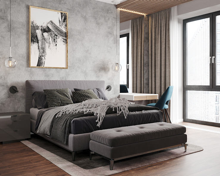 Студия дизайна 'INTSTYLE' ห้องนอนขนาดเล็ก ไม้ Grey