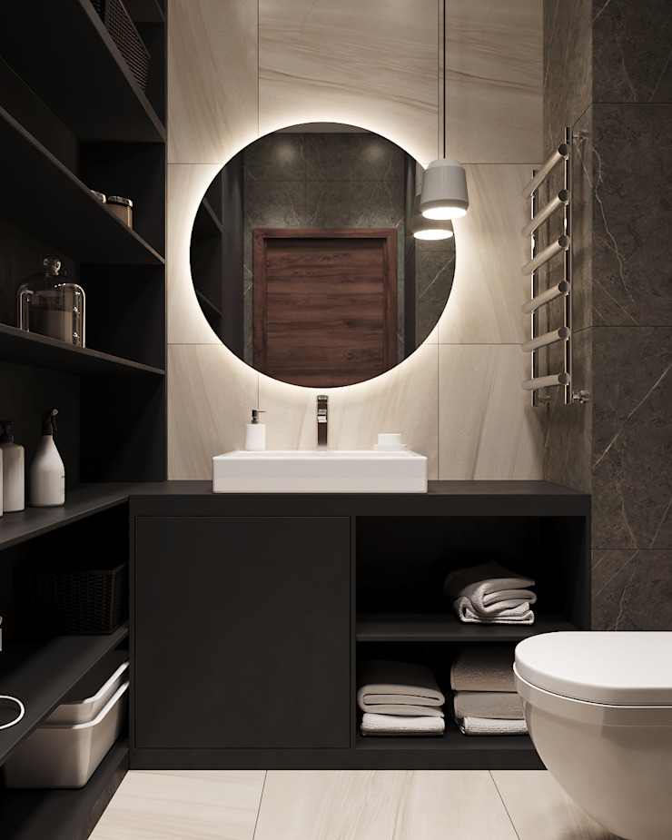 Студия дизайна 'INTSTYLE' ห้องน้ำ ไม้ White