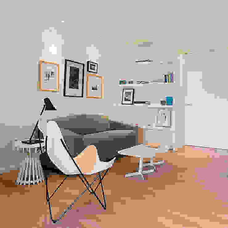 Salón con el pasillo integrado MANUEL GARCÍA ASOCIADOS Salones de estilo moderno Acabado en madera