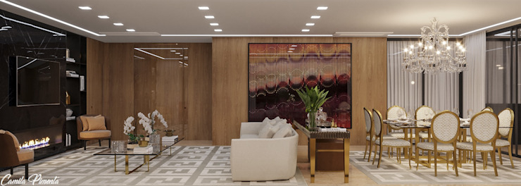Camila Pimenta | Arquitetura + Interiores Moderne woonkamers Hout Beige
