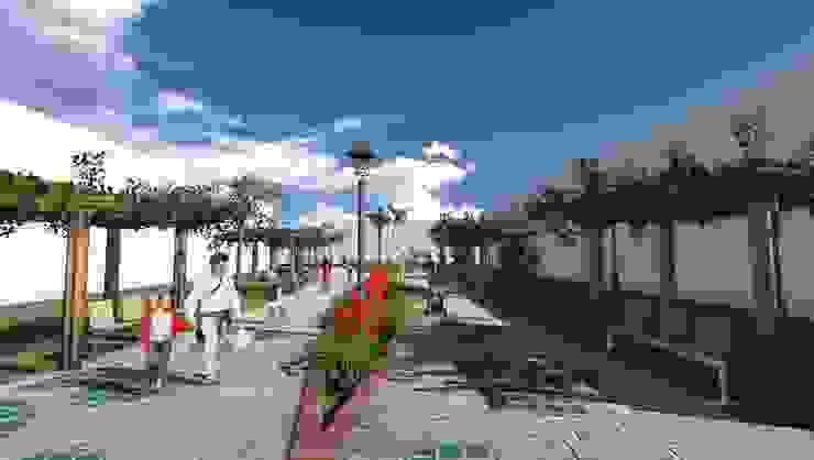 Pasaje peatonal - vegetación de bajo consumo hídrico ROQA.7 ARQUITECTURA Y PAISAJE Jardines de estilo tropical