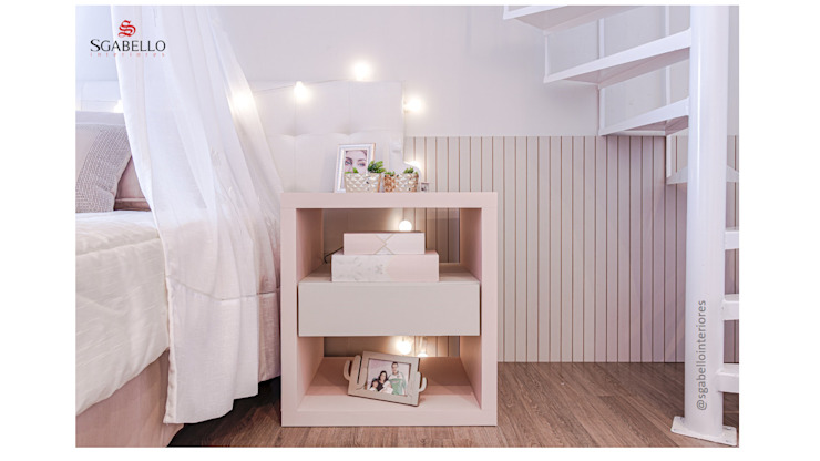 Sgabello Interiores BedroomBedside tables MDF Pink