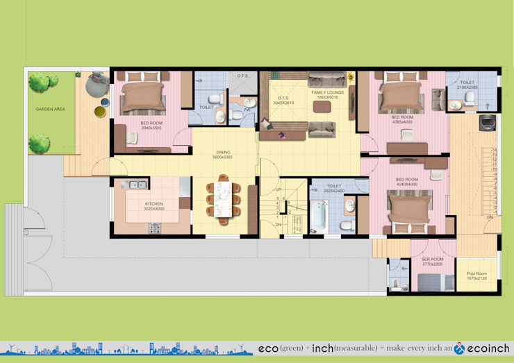 Ground Floorplan Modern houses by Ecoinch Services Private Limited Modern