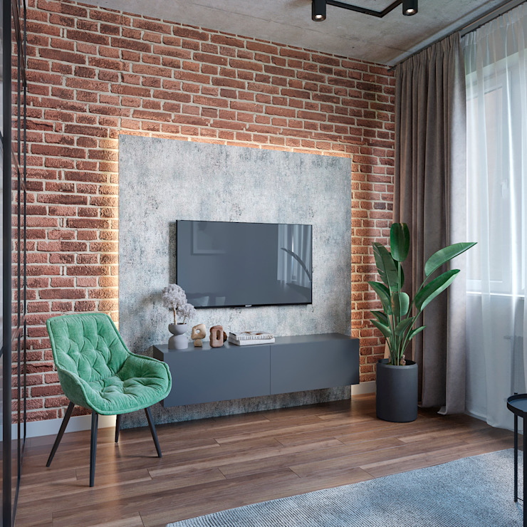 Студия дизайна 'INTSTYLE' ห้องนั่งเล่น อิฐหรือดินเผา White