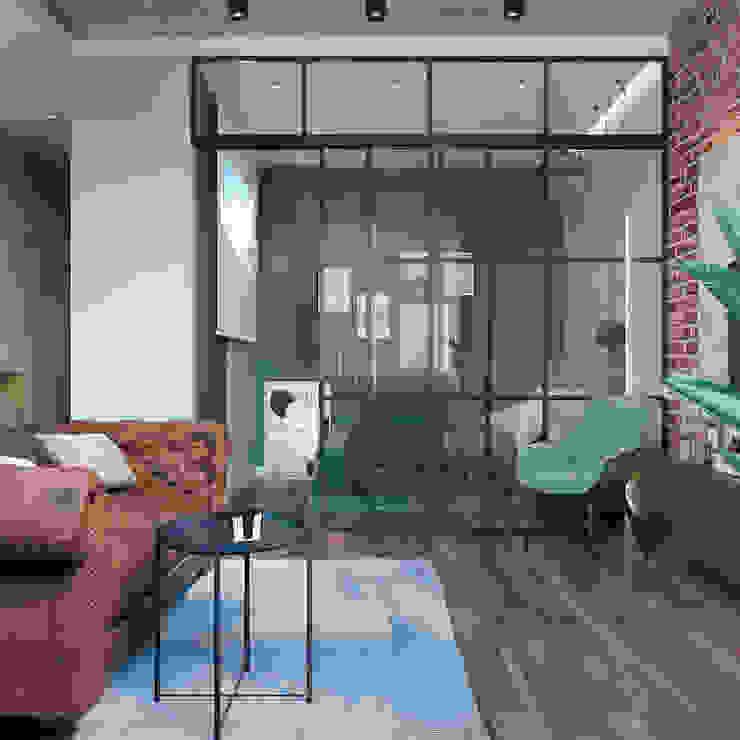 Студия дизайна 'INTSTYLE' ห้องนั่งเล่น ไม้ Brown