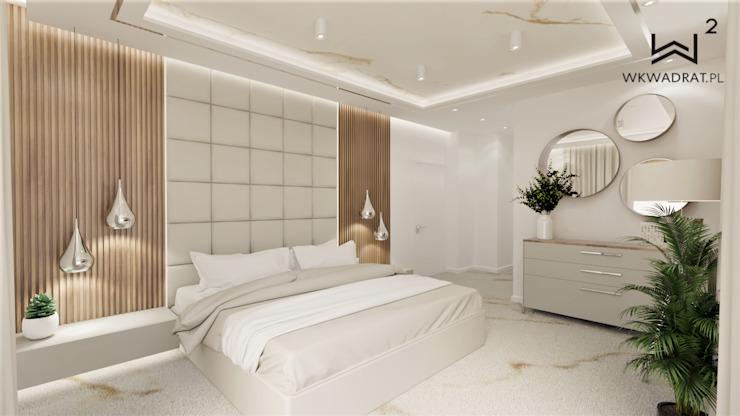 Główna sypialnia Wkwadrat Architekt Wnętrz Toruń Małe sypialnie Marmur Beżowy