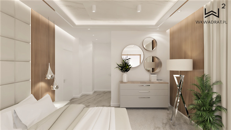 Wkwadrat Architekt Wnętrz Toruń Dormitorios pequeños Tablero DM Blanco
