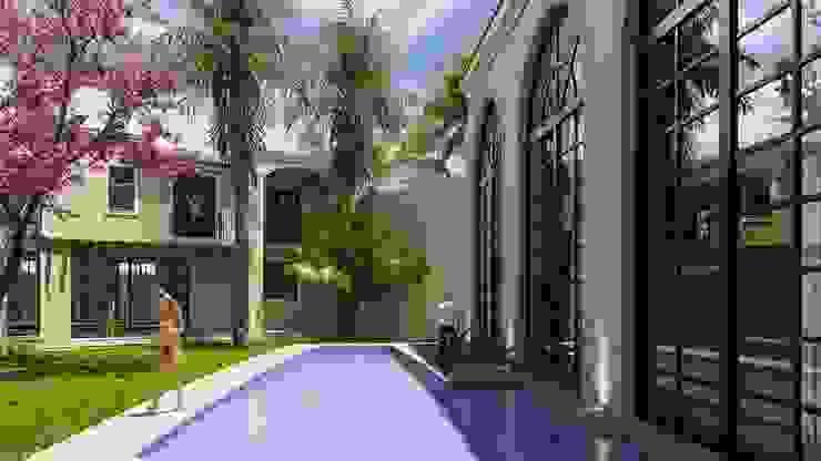SG Huerta Arquitecto Cancun Garden Pool Tiles Blue