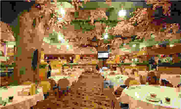 Artificial Pink Trees in the Restaurant Sunwing Industries Ltd Moderne winkelruimten Houtcomposiet Roze