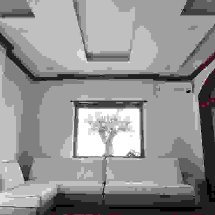 Salotto Dr-Z Architects Soggiorno moderno Legno massello Bianco