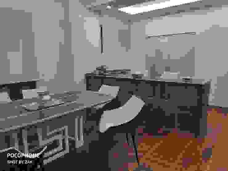 Continuità degli spazi Dr-Z Architects Sala da pranzo moderna Legno massello Bianco