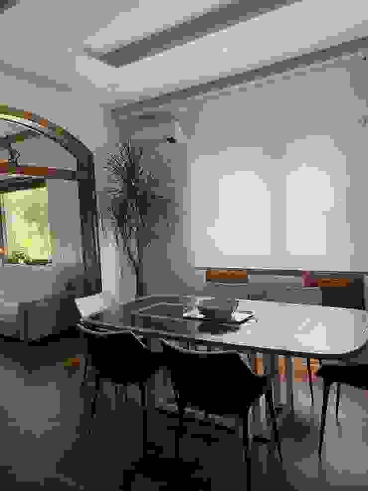Soggiorno Dr-Z Architects Sala da pranzo moderna Legno massello Bianco