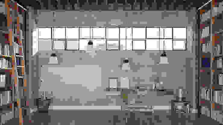 Floorwell Oficinas y bibliotecas de estilo industrial