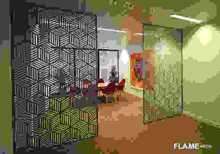 Flame Metal GmbH Comedores de estilo moderno Aluminio/Cinc Metálico/Plateado