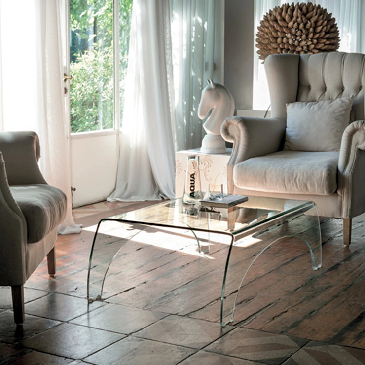 Bridge curved glass coffee table by Target Point My Italian Living Living roomSide tables & trays