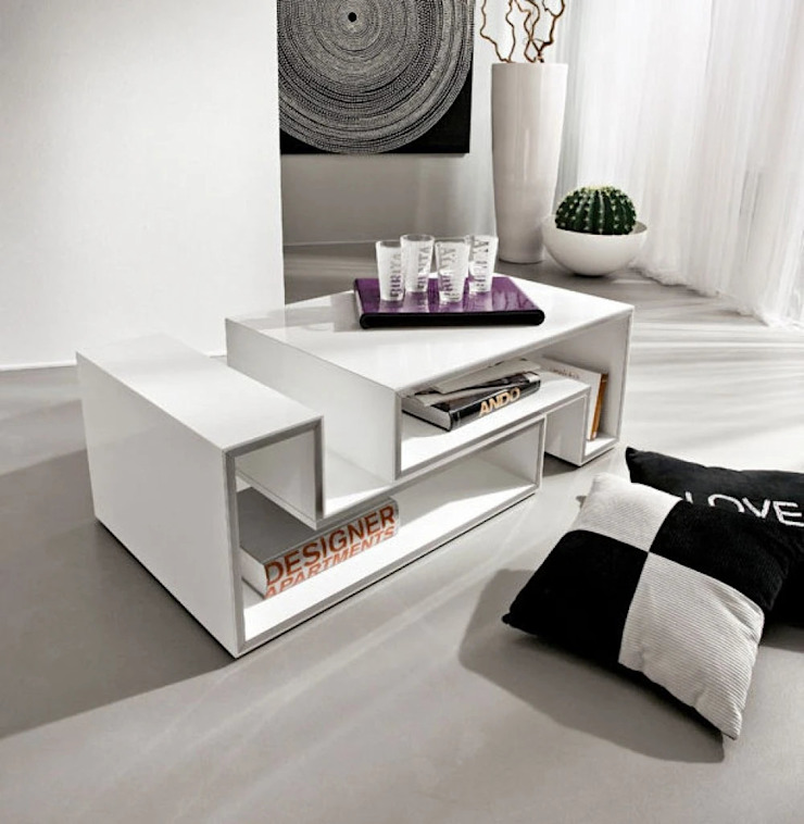Coffee TablesMarika modular white gloss coffee table by La Primavera My Italian Living Living roomSide tables & trays