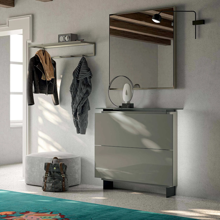 Hosoi modern shoe storage with resin shelf top by Birex My Italian Living Corridor, hallway & stairsStorage