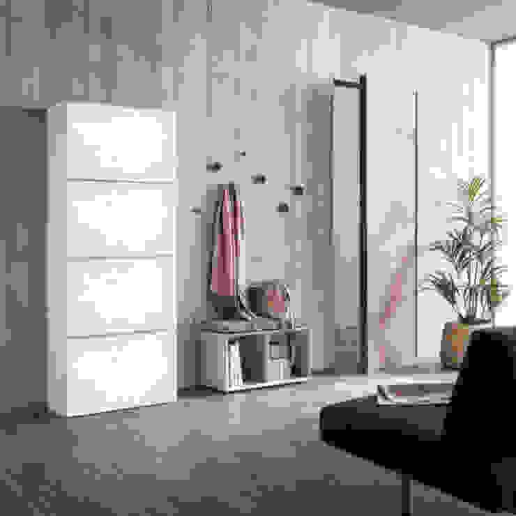 Minima contemporary 4 door shoe storage & bench by Birex My Italian Living Corridor, hallway & stairsStorage