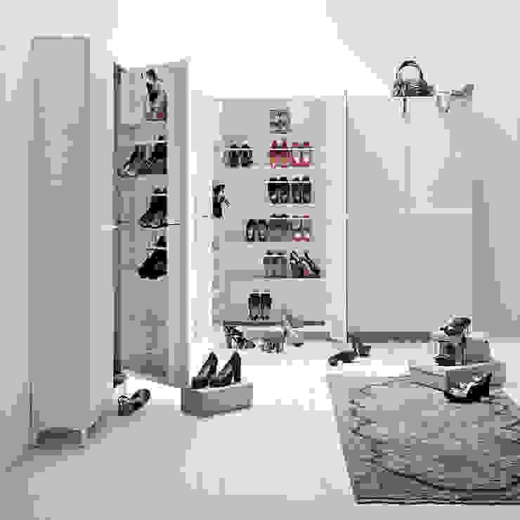 Linear white wooden shoe storage units by Birex My Italian Living Corridor, hallway & stairsStorage