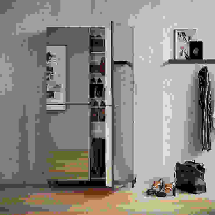 Linear 2 mirrored door shoe storage unit by Birex My Italian Living Corridor, hallway & stairsStorage