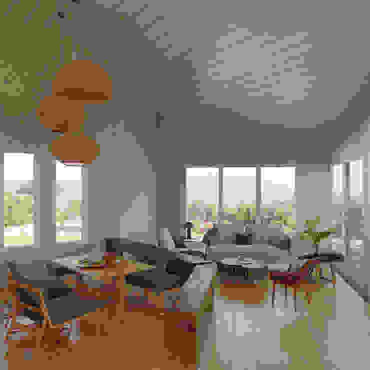 Visualización Interior Futurista 3D Spa Livings de estilo rústico Acabado en madera