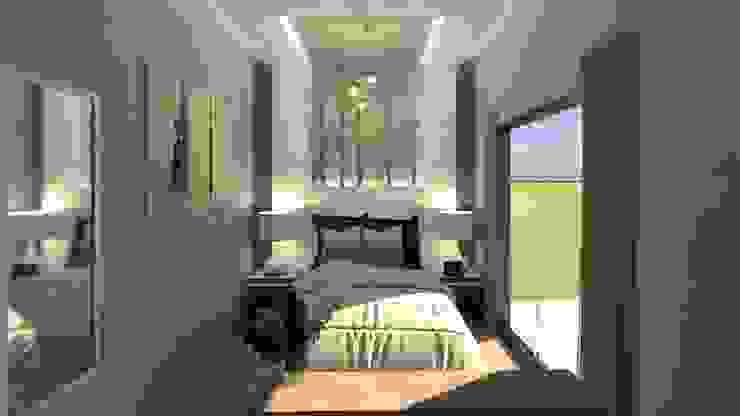 Nxu Arquitectos Small bedroom Wood-Plastic Composite White