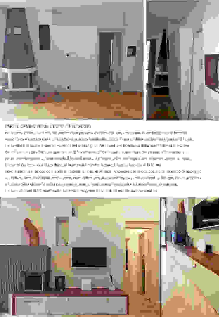 PARETE CAMINO PRIMA E DOPO L'INTERVENTO Laura Canonico Architetto Soggiorno eclettico