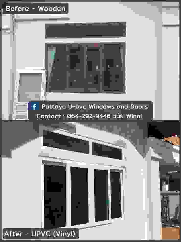 Before & After dismantle old wooden doors & windows โรงงาน พัทยา กระจก ยูพีวีซี Pattaya UPVC Windows & Doors