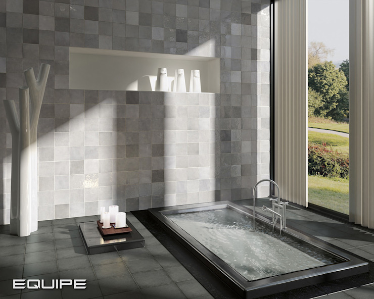 Equipe Ceramicas Scandinavian style bathroom Tiles Grey