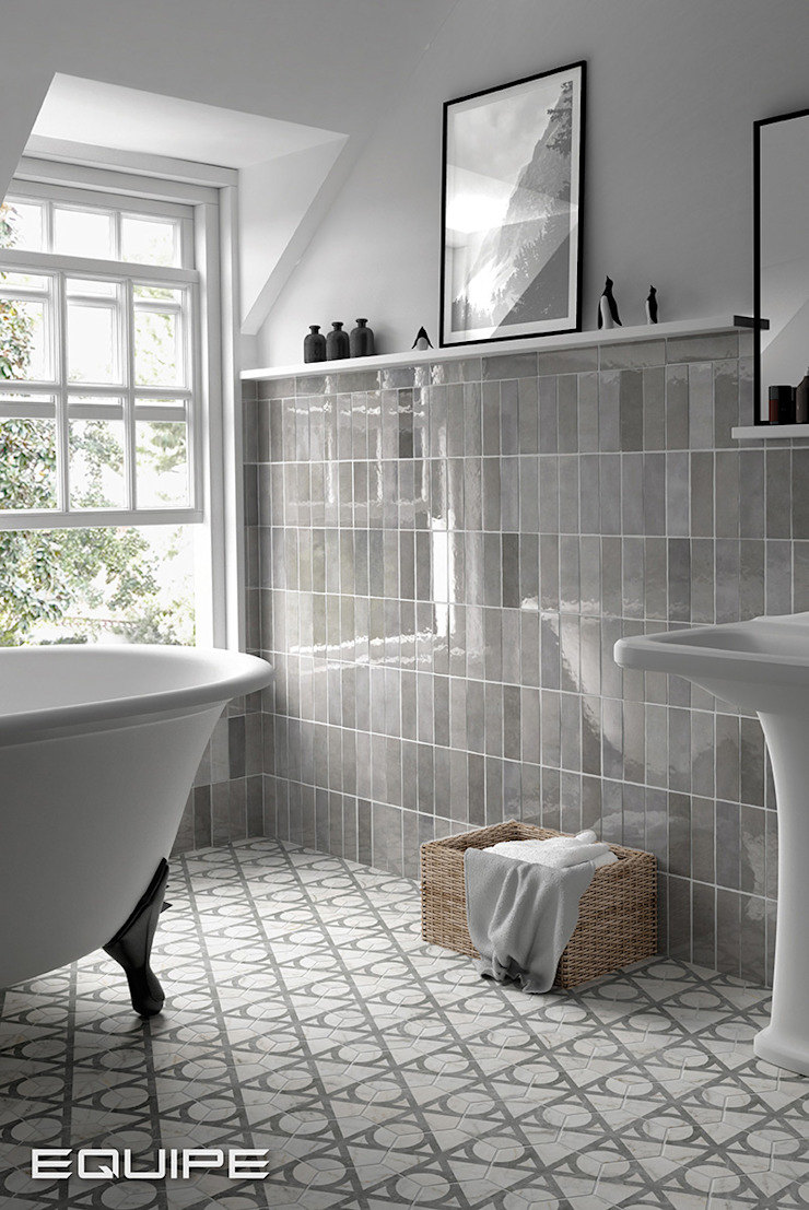 Equipe Ceramicas Eclectic style bathroom Tiles Grey