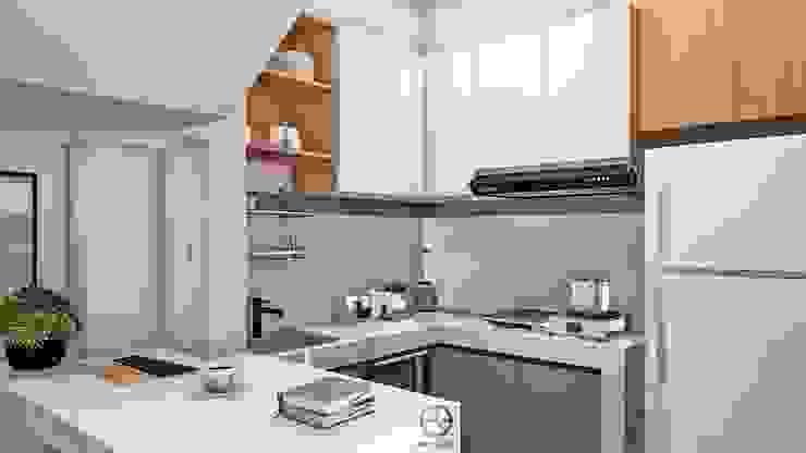 RYN House - Desain Interior Rumah Bapak Ryan - Sleman, D. I. Yogyakarta Rancang Reka Ruang Dapur kecil White