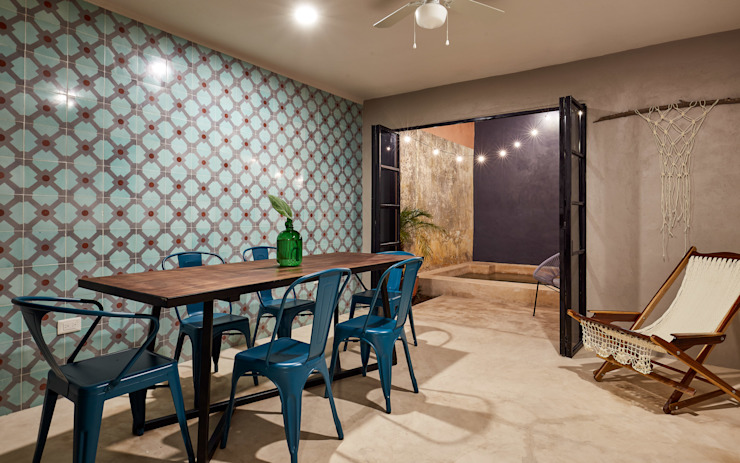 Quinto Distrito Arquitectura Tropical style dining room Tiles Green